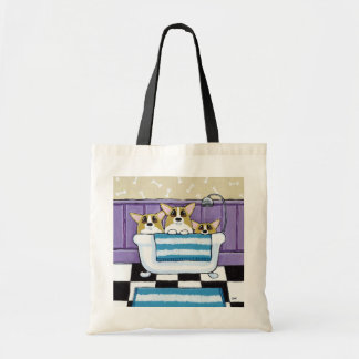 Corgi Bath Time - Cute Dog Art Tote Bag