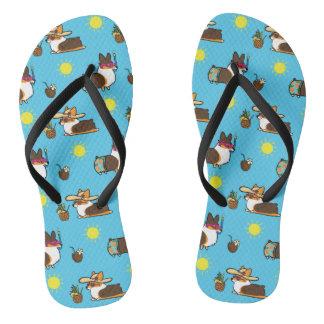 Corgi Beach Party (Tricolor Pembroke) Flip Flops