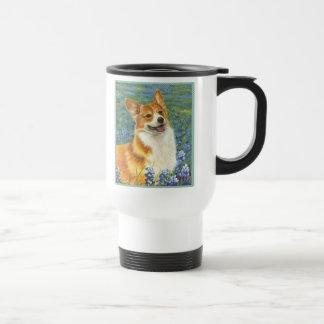 Corgi & Bluebonnets Portrait Travel Mug