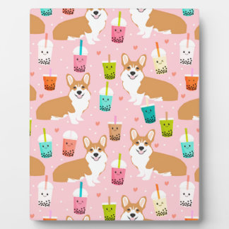 corgi bubble tea boba tea fabric cute plaque