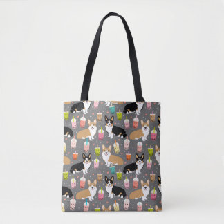 Corgi bubble Tea - Tri and Red corgis - grey Tote Bag