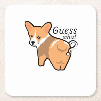 Corgi Butt Dogs Love Pet Puppy Dog Funny Square Paper Coaster