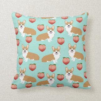 Corgi Butts cute throw pillow - peach emoji