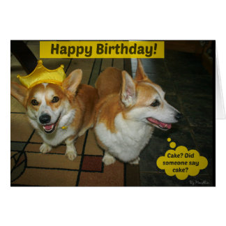 Corgi cake birthday card