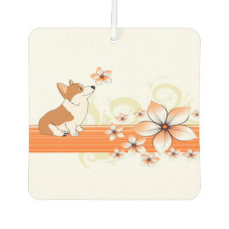 Corgi Cartoon in Spring Car Air Freshener