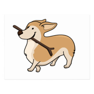 corgi cartoonw stick postcard