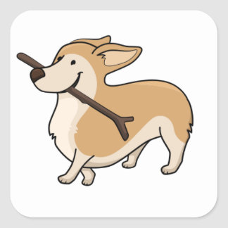corgi cartoonw stick square sticker