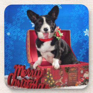 Corgi Christmas Drink Coaster