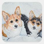 Corgi Christmas Square Stickers