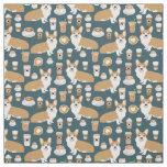 Corgi Coffee fabric - cute corgi pattern