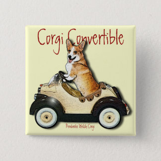 Corgi Convertible 2 Inch Square Button