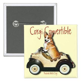 Corgi Convertible 2 Inch Square Button