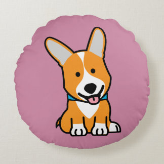 Corgi Corgis dog puppy doggy happy Pembroke Welsh Round Pillow