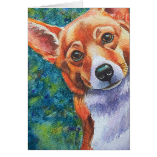 Corgi Curious Dog Card
