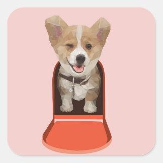 Corgi Delivery Square Sticker