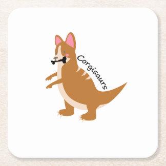 Corgi Dinosaurs T-Rex Corgisaurs Love Dog Funny Square Paper Coaster