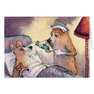 Corgi dog nurse, get well soon greeting card