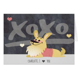 Corgi Dog Personalized xoxo Valentines Day Card