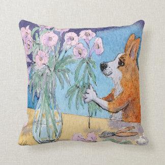 Corgi dog pink cushion, Corgi flower arranging Throw Pillow