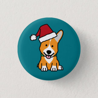 Corgi dog puppy Pembroke Welsh Christmas Santa hat 1 Inch Round Button