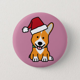 Corgi dog puppy Pembroke Welsh Christmas Santa hat 2 Inch Round Button