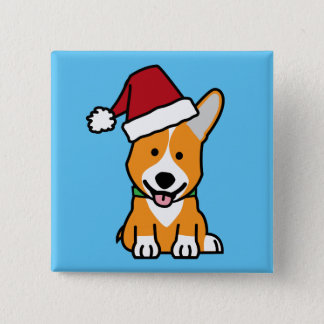 Corgi dog puppy Pembroke Welsh Christmas Santa hat 2 Inch Square Button