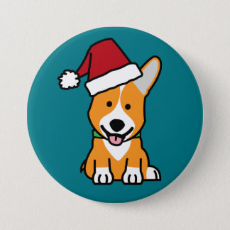 Corgi dog puppy Pembroke Welsh Christmas Santa hat 3 Inch Round Button
