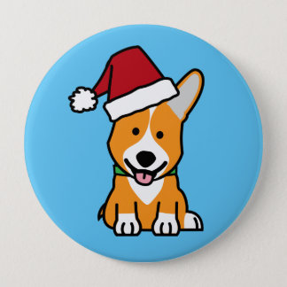Corgi dog puppy Pembroke Welsh Christmas Santa hat 4 Inch Round Button