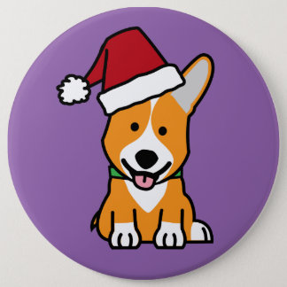 Corgi dog puppy Pembroke Welsh Christmas Santa hat 6 Inch Round Button