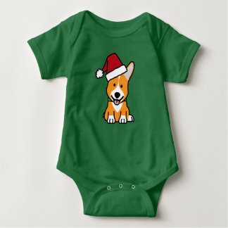 Corgi dog puppy Pembroke Welsh Christmas Santa hat Baby Bodysuit