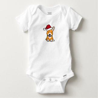 Corgi dog puppy Pembroke Welsh Christmas Santa hat Baby Onesie