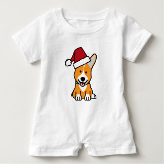 Corgi dog puppy Pembroke Welsh Christmas Santa hat Baby Romper