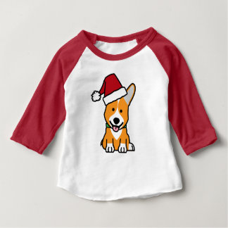 Corgi dog puppy Pembroke Welsh Christmas Santa hat Baby T-Shirt