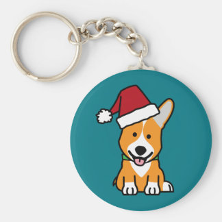 Corgi dog puppy Pembroke Welsh Christmas Santa hat Basic Round Button Keychain