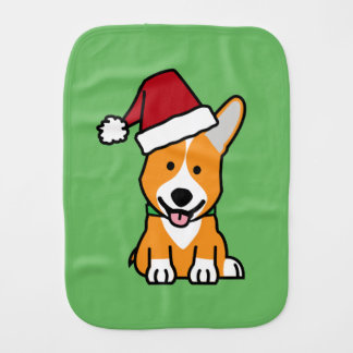Corgi dog puppy Pembroke Welsh Christmas Santa hat Burp Cloth
