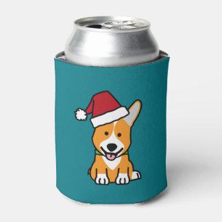 Corgi dog puppy Pembroke Welsh Christmas Santa hat Can Cooler
