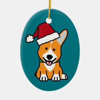 Corgi dog puppy Pembroke Welsh Christmas Santa hat Ceramic Ornament