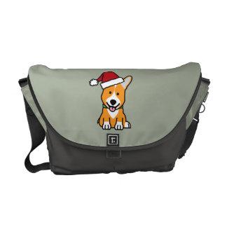 Corgi dog puppy Pembroke Welsh Christmas Santa hat Courier Bag