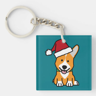 Corgi dog puppy Pembroke Welsh Christmas Santa hat Double-Sided Square Acrylic Keychain