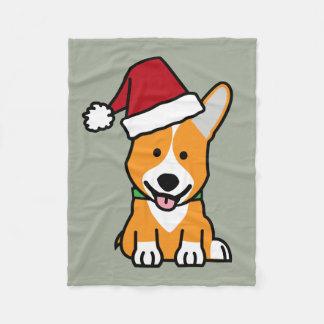 Corgi dog puppy Pembroke Welsh Christmas Santa hat Fleece Blanket