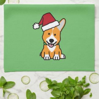 Corgi dog puppy Pembroke Welsh Christmas Santa hat Kitchen Towel