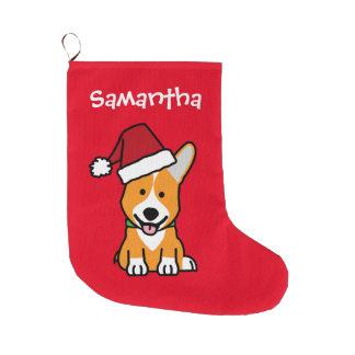 Corgi dog puppy Pembroke Welsh Christmas Santa hat Large Christmas Stocking