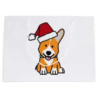 Corgi dog puppy Pembroke Welsh Christmas Santa hat Large Gift Bag