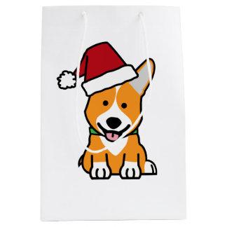 Corgi dog puppy Pembroke Welsh Christmas Santa hat Medium Gift Bag