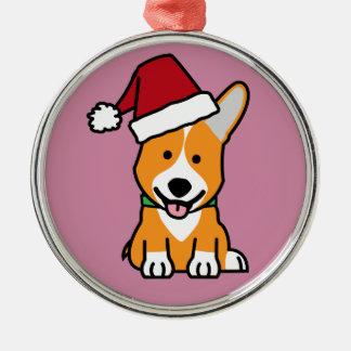 Corgi dog puppy Pembroke Welsh Christmas Santa hat Metal Ornament