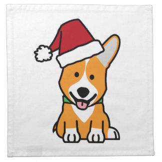 Corgi dog puppy Pembroke Welsh Christmas Santa hat Napkin