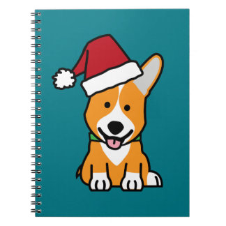 Corgi dog puppy Pembroke Welsh Christmas Santa hat Notebook