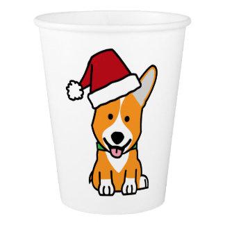 Corgi dog puppy Pembroke Welsh Christmas Santa hat Paper Cup