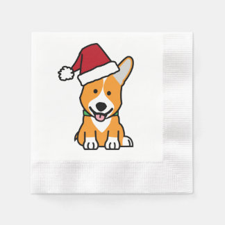 Corgi dog puppy Pembroke Welsh Christmas Santa hat Paper Napkin