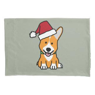 Corgi dog puppy Pembroke Welsh Christmas Santa hat Pillowcase
